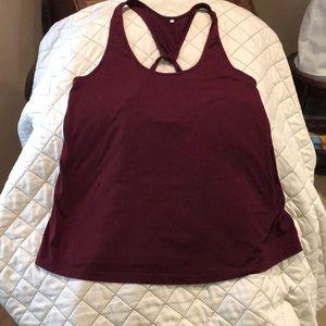 Burgundy women's large cotton tank top